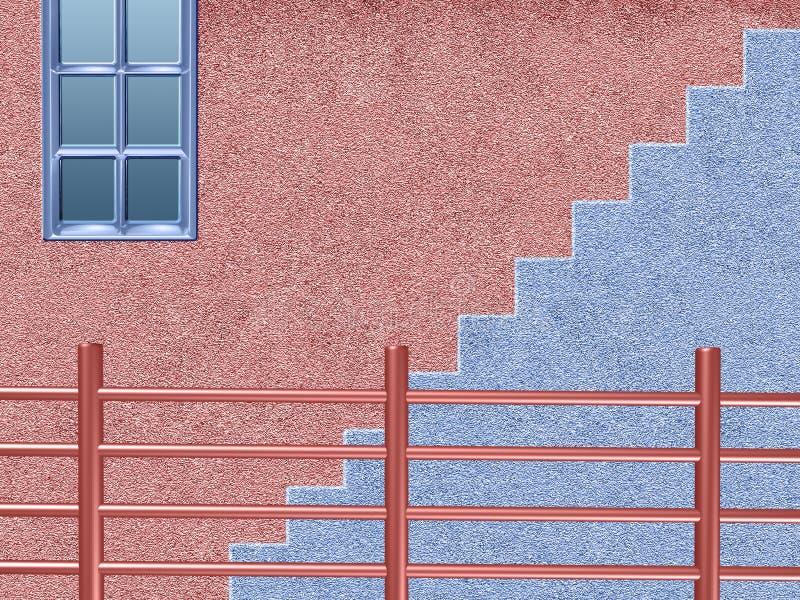 Rosa und blaues Haus mit Treppe nad-Schiene stock abbildung