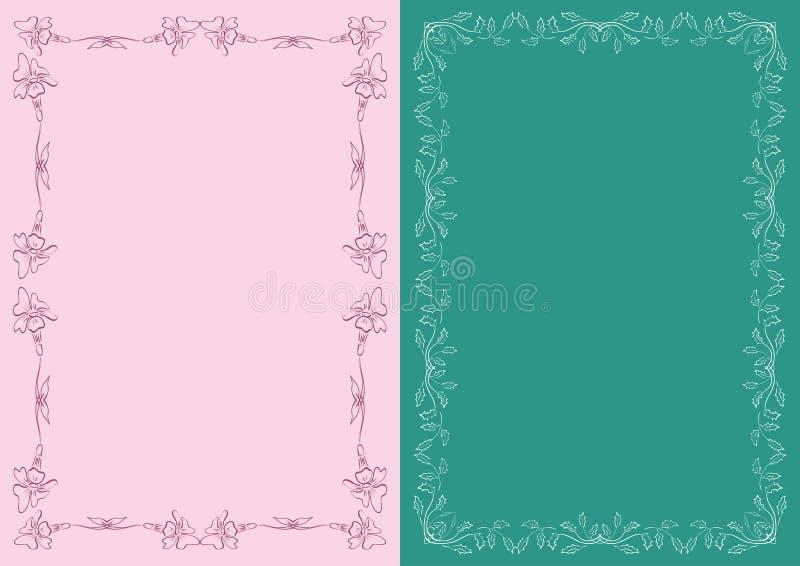 Rosa und dunkelgrüne Hintergründe mit dekorativen mit Blumenrahmen - Vektordekorationen vektor abbildung