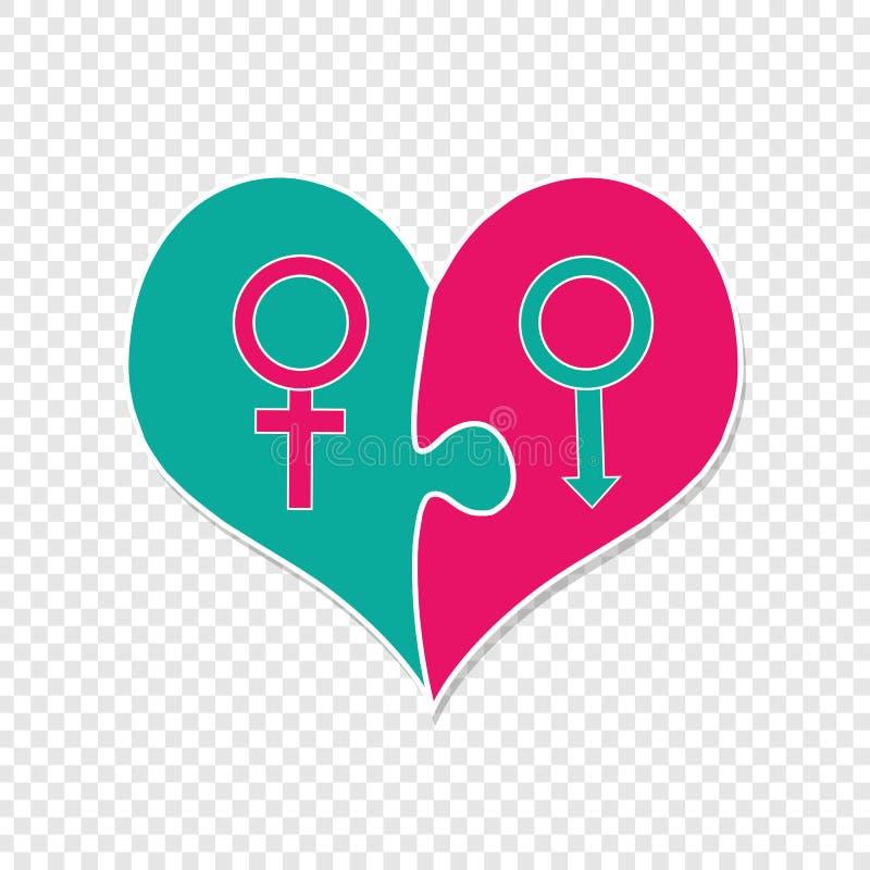 Rosa und grünes Herz gemacht von zwei Puzzlespiel-Stücken vektor abbildung