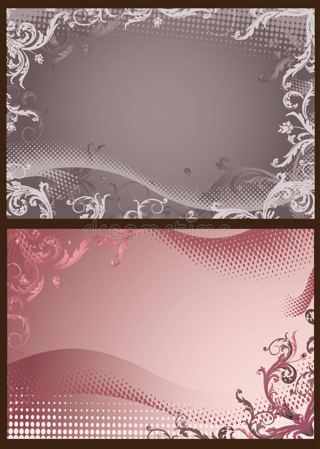 Rosa und graue Blumenhintergründe mit Halbtonbild vektor abbildung