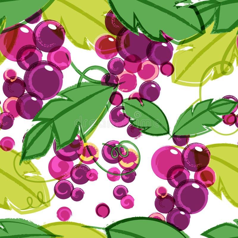 Rosa und purpurrote reife Weinrebe mit grünen Blättern Abstraktes vect lizenzfreie abbildung