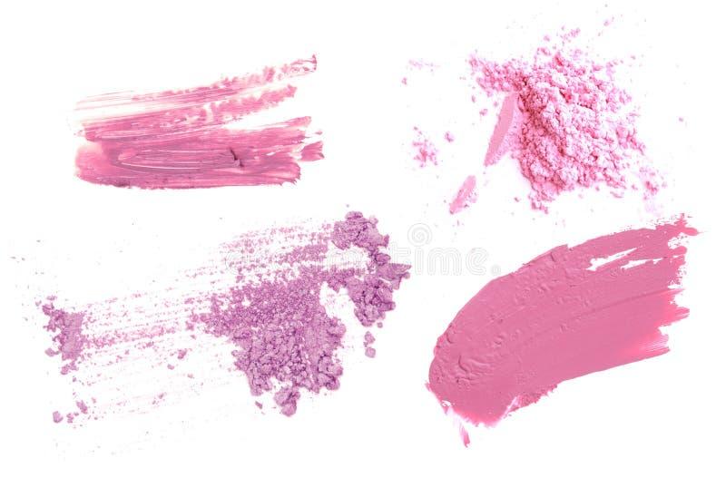 Rosa und purpurroter Farbton bilden kosmetisches Produkt Pulverlipgloss und -lidschatten lizenzfreie stockbilder