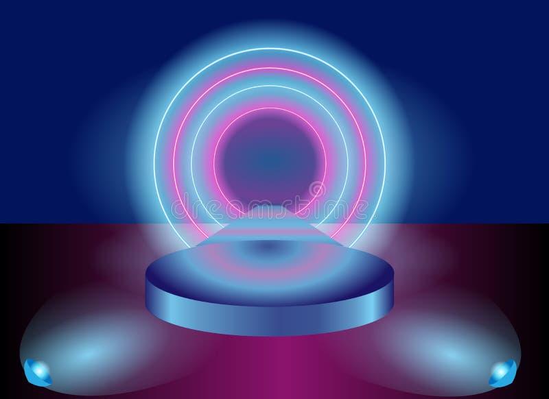 Rosa und purpurroter Vektorhintergrund - hintergrundbeleuchtete runde Szene vektor abbildung