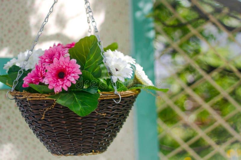 Rosa und weiße Blumen im Korb lizenzfreies stockbild