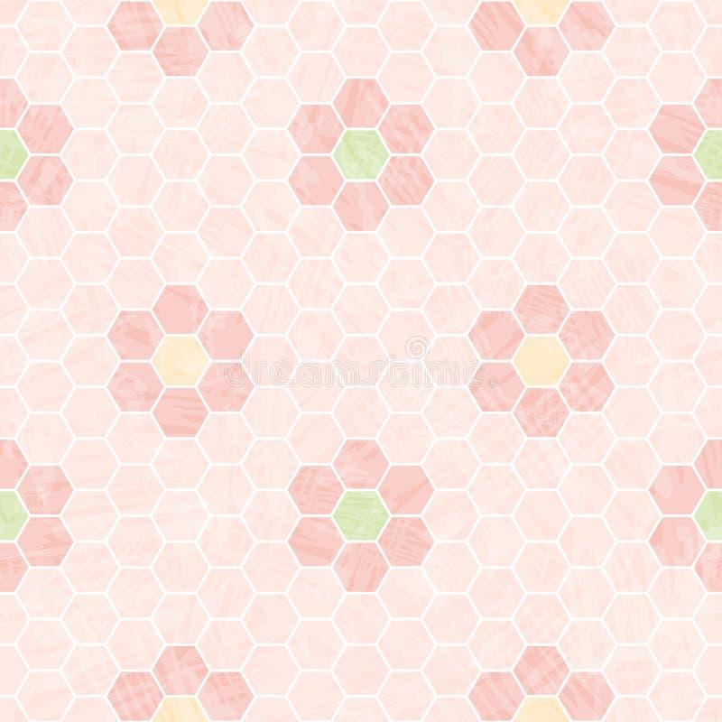 Rosa und weißer Bienenwabenpastellentwurf mit Mosaikblumen Nahtloses Vektormuster mit transparentem Aquarelleffekt lizenzfreie abbildung