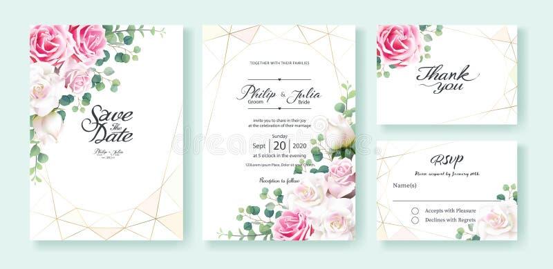 Rosa-und weißerosafarbene Blumen Hochzeits-Einladung, sparen das Datum, danke, rsvp Karte Entwurfsschablone Vektor Silberner Doll vektor abbildung