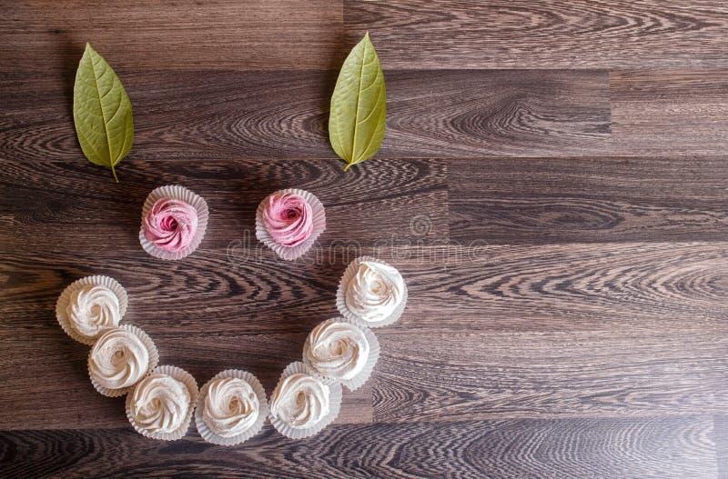Rosa- und weißeselbst gemachte Eibische auf einem grauen hölzernen Hintergrund stockfotografie