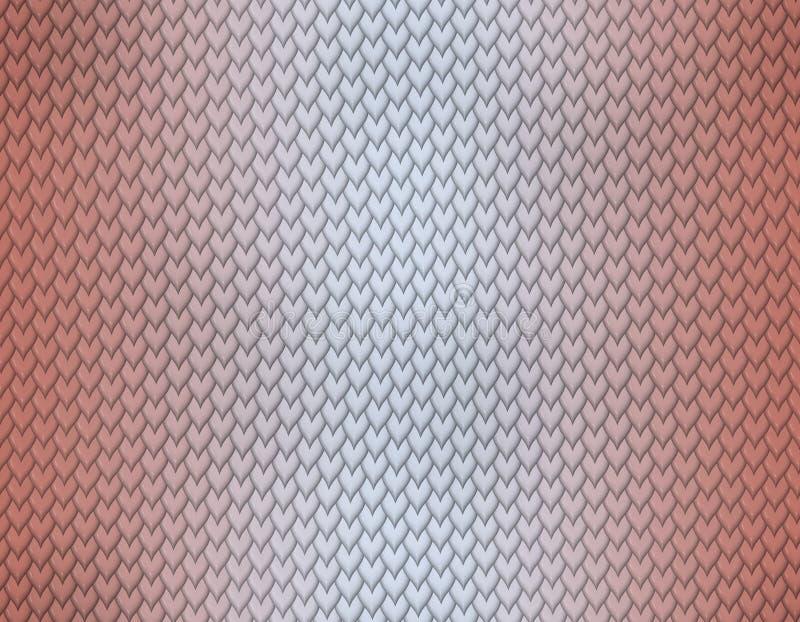 Rosa- und weißessteigungsschlangenhautmuster, kurze scharfe Skala vektor abbildung