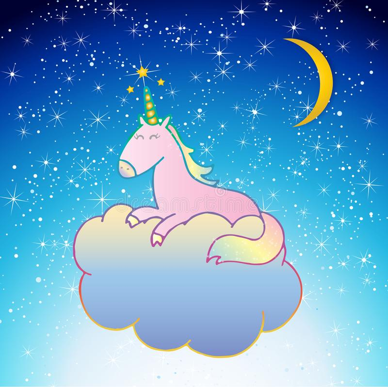 Rosa Unicorn Vector som sover på en molnnattplats stock illustrationer