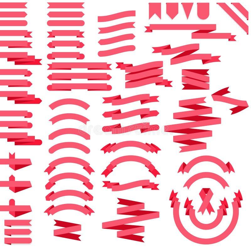 Rosa uppsättning för konst för bandvektorgem av 64 plana band och baner vektor illustrationer