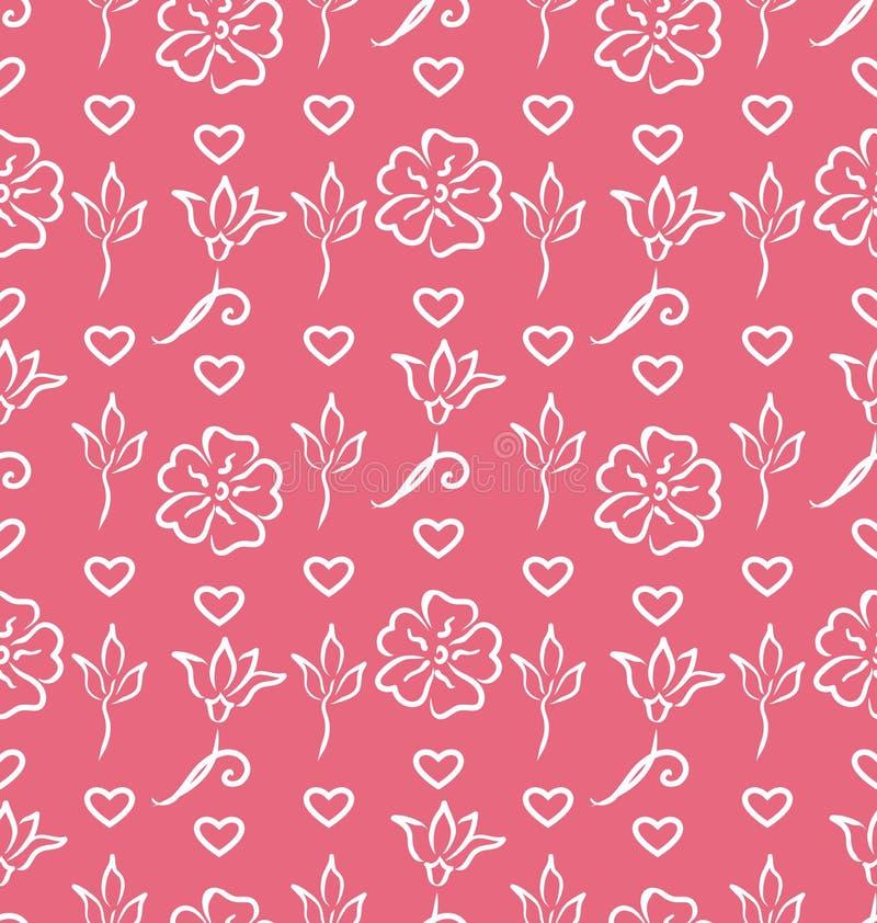 Rosa utsmyckad sömlös tapet för valentindag stock illustrationer