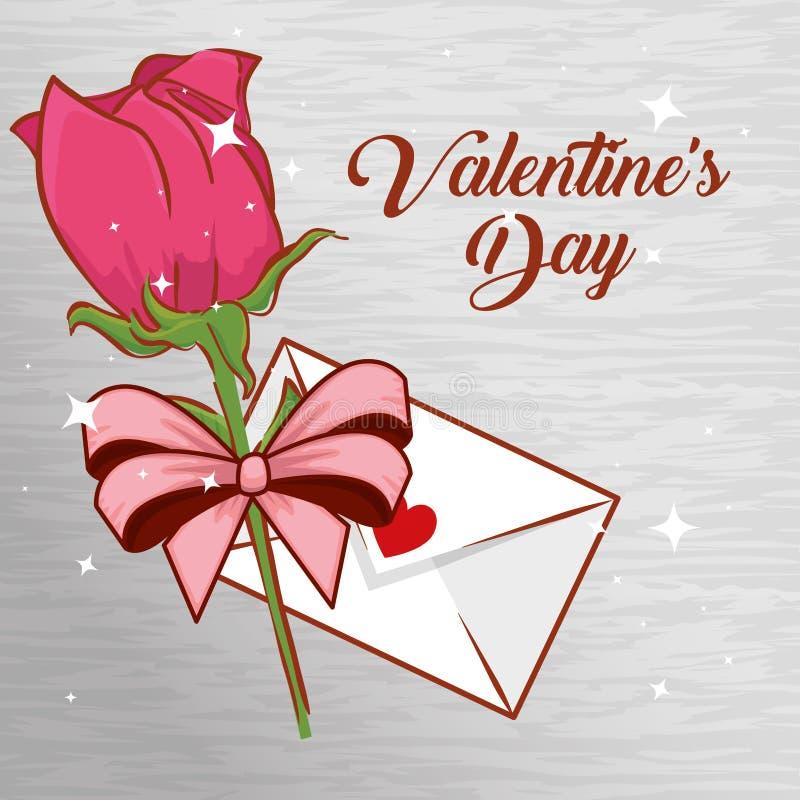 Rosa växt med förälskelsekortet till valentindagberöm royaltyfri illustrationer