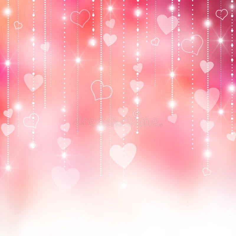 Rosa valentin hjärtabakgrund royaltyfri illustrationer