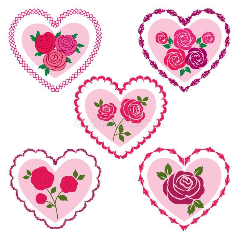 Rosa valentinhjärtor royaltyfri illustrationer