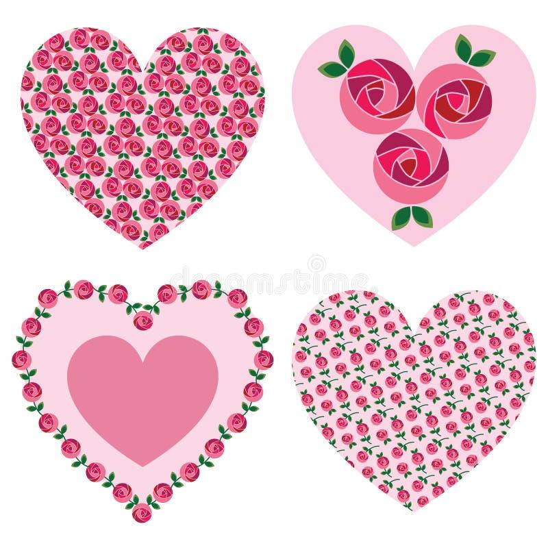 Rosa valentinhjärtor för ändring royaltyfri illustrationer