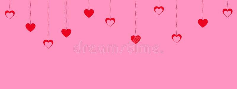 Rosa Valentinstaghintergrund mit dem Hängen von roten Herzen stock abbildung