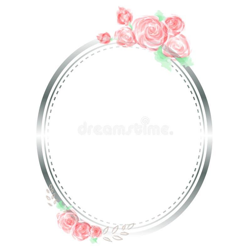 Rosa vattenfärg- och ramvektor royaltyfri illustrationer
