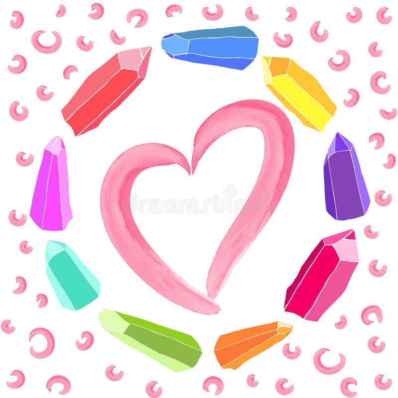 Rosa vattenfärghjärta inom en krans av färgrika kristaller stock illustrationer