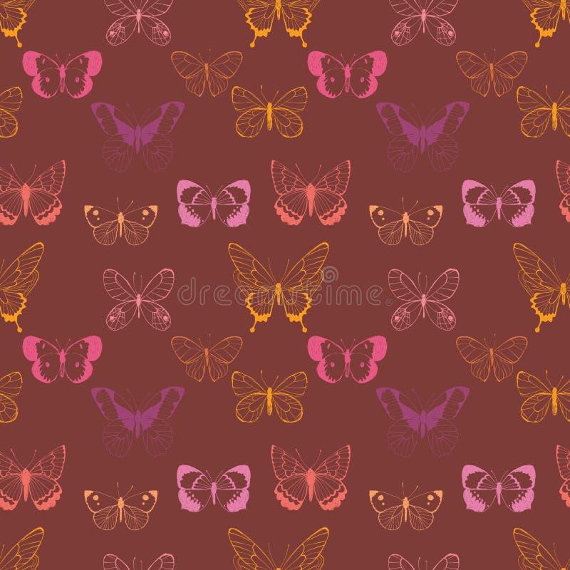 Rosa vektor, sömlös modell för magentafärgade gula flygafjärilar på rödbrun bakgrund stock illustrationer