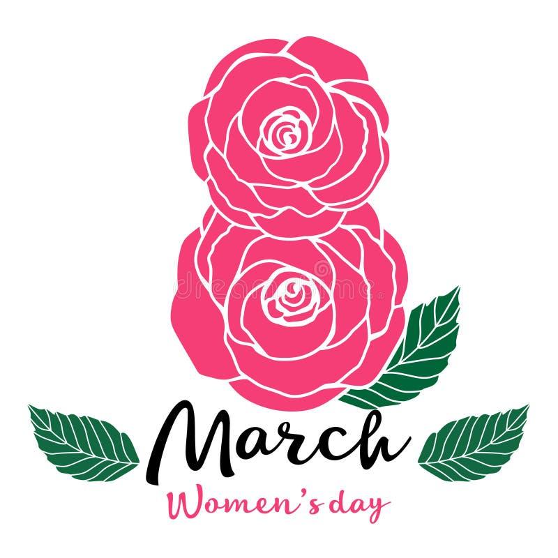 Rosa vektorabbildung Frauen `s Tag Rosafarbene Rosen stockfotografie