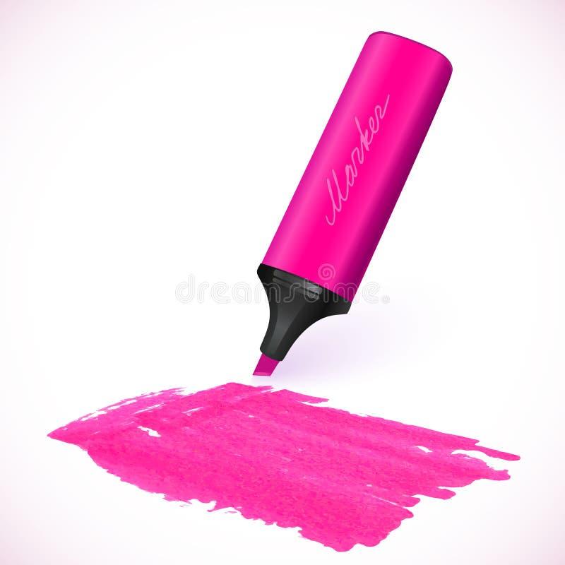Rosa vektormarkör med den utdragna fläcken vektor illustrationer