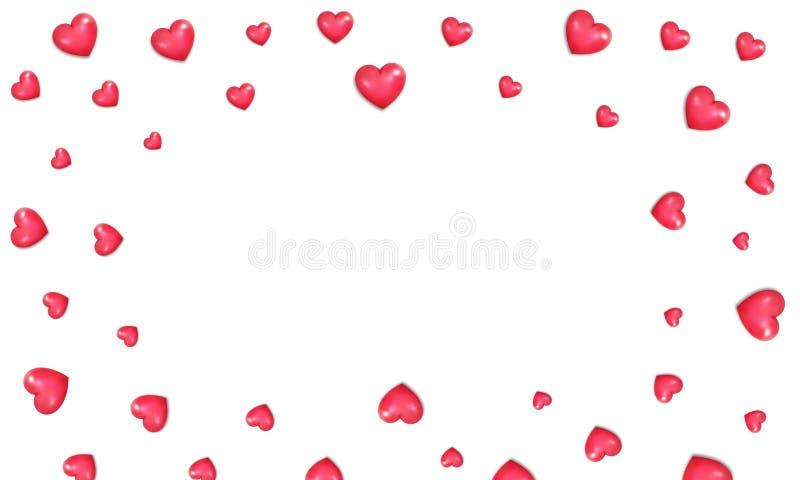 Rosa vermelha Beira de corações vermelhos lustrosos realísticos Fundo do `s do Valentim ilustração stock