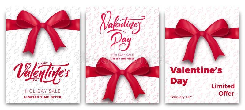 Rosa vermelha Grupo de cartazes para a venda do ` s do Valentim, o promo etc. Cartazes na moda com rotulação e tipografia do rote ilustração stock