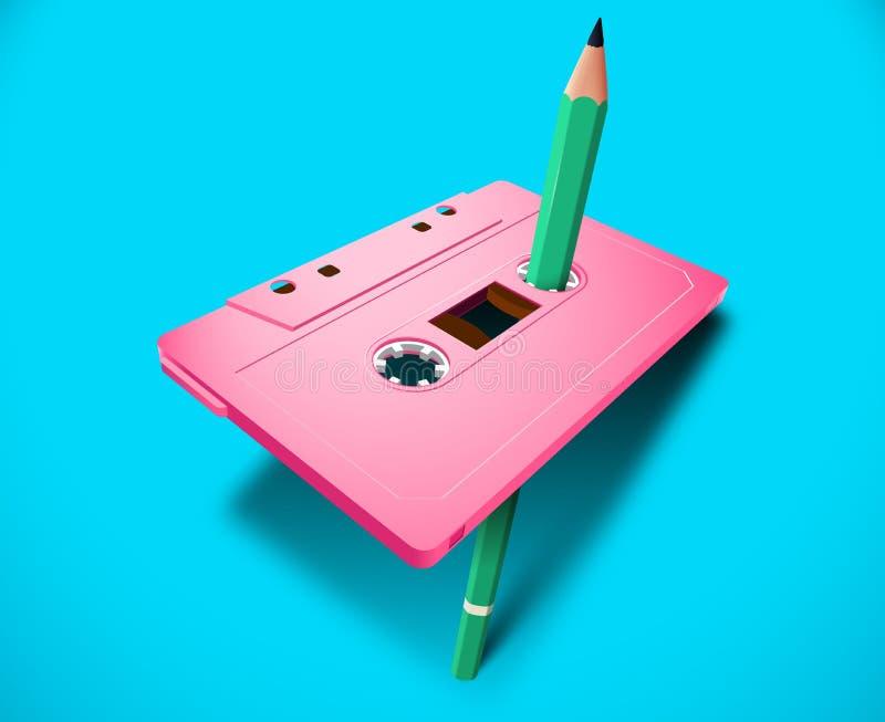Rosa vibrerande kompakt kassett80-tal som utformas med musik- eller databandet och den gröna blyertspennan för manuell tillbakasp royaltyfri illustrationer