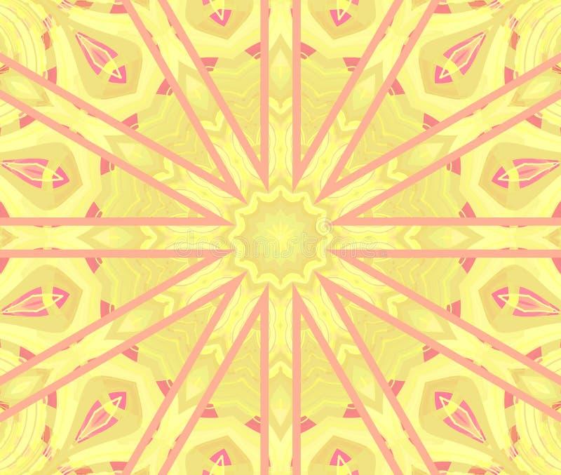 Rosa viola della stella di giallo rotondo regolare dell'ornamento concentrato illustrazione di stock