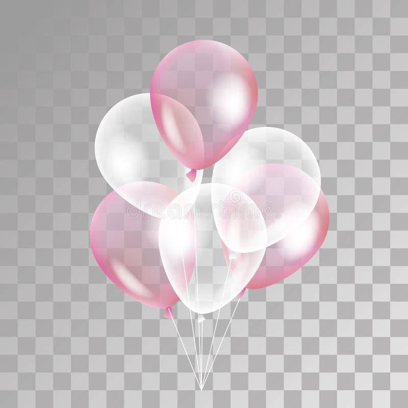 Rosa vit genomskinlig ballong royaltyfri illustrationer
