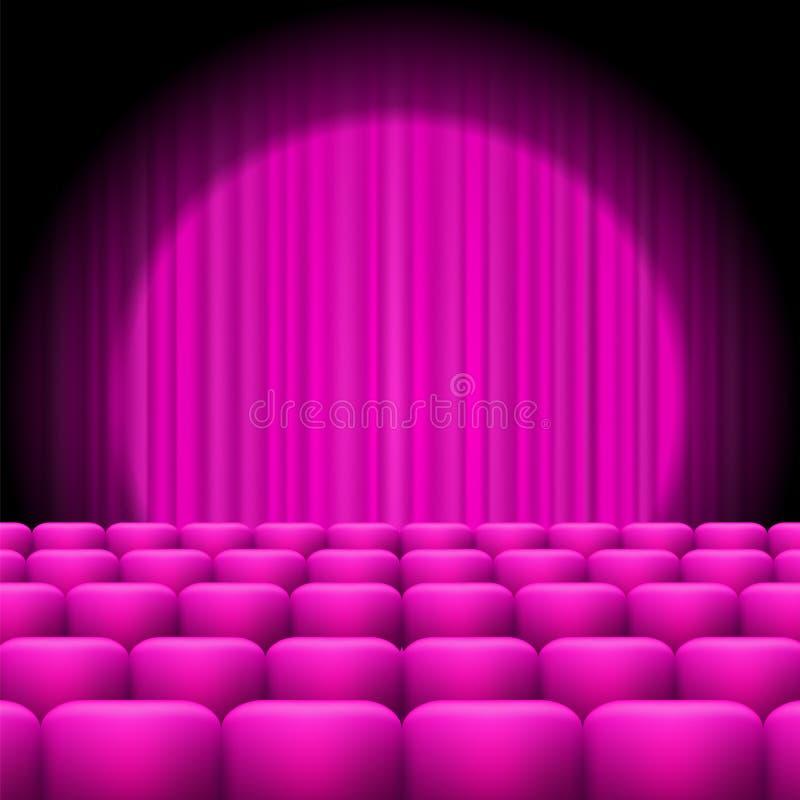 Rosa Vorhänge mit Scheinwerfer und Sitzen lizenzfreie abbildung