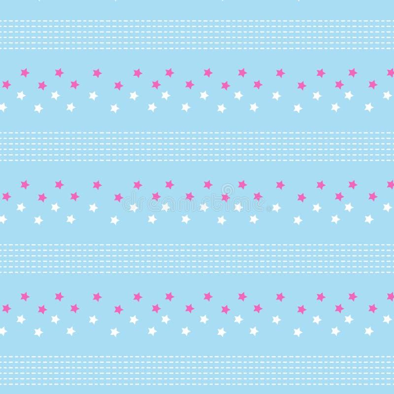 Rosa weißer Polkastern und weißes dashed line gestreiftes Muster vorüber lizenzfreie abbildung