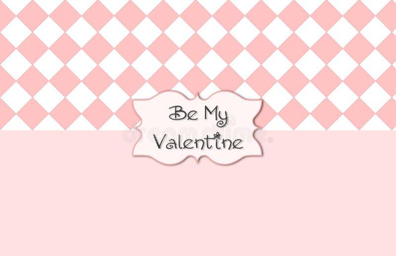 Rosa weißer Valentine Card vektor abbildung
