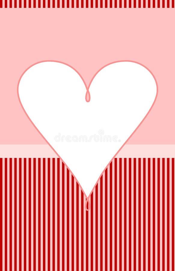 Rosa weißes Herz Valentine Card vektor abbildung