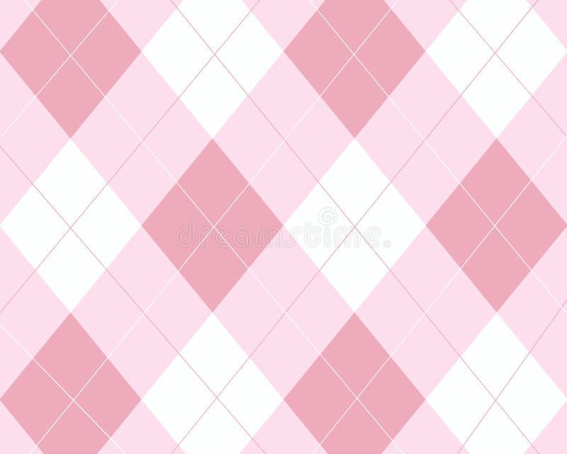 rosa white för argyle vektor illustrationer
