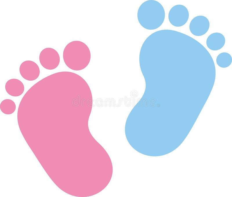 Rosa y azul de la huella del bebé stock de ilustración