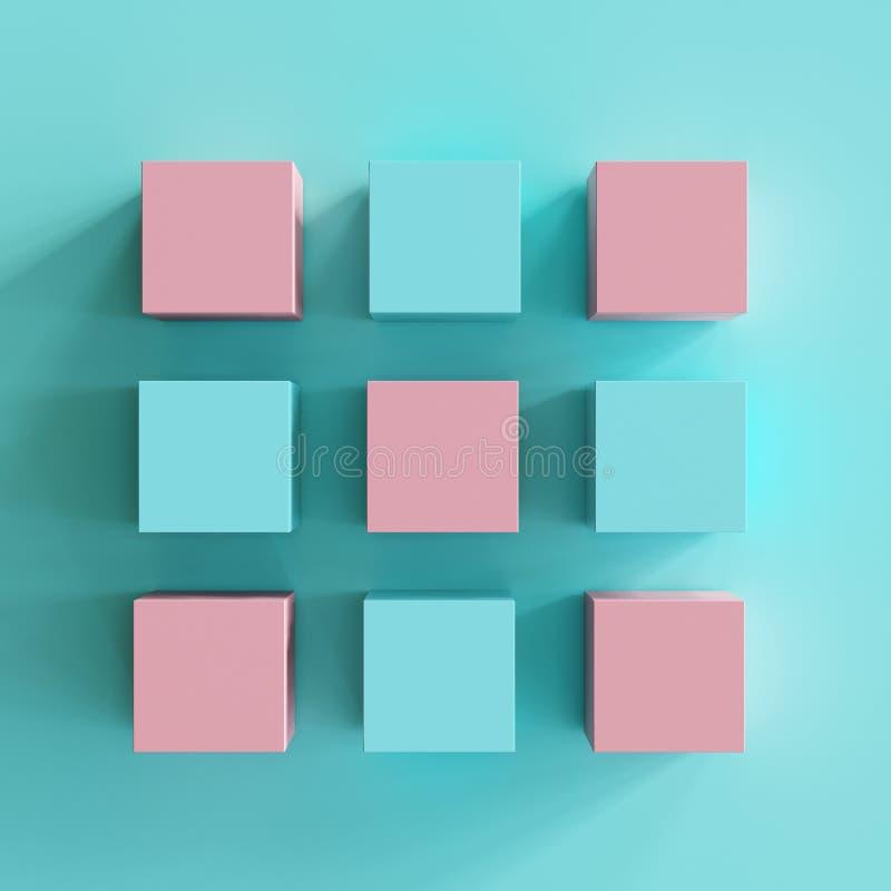 Rosa y cajas azules en fondo azul ilustración del vector