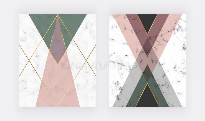 Rosa y diseño geométrico verde con las líneas de oro Diseño de la moda para la bandera, aviador, cartel, invitación de la boda, t ilustración del vector