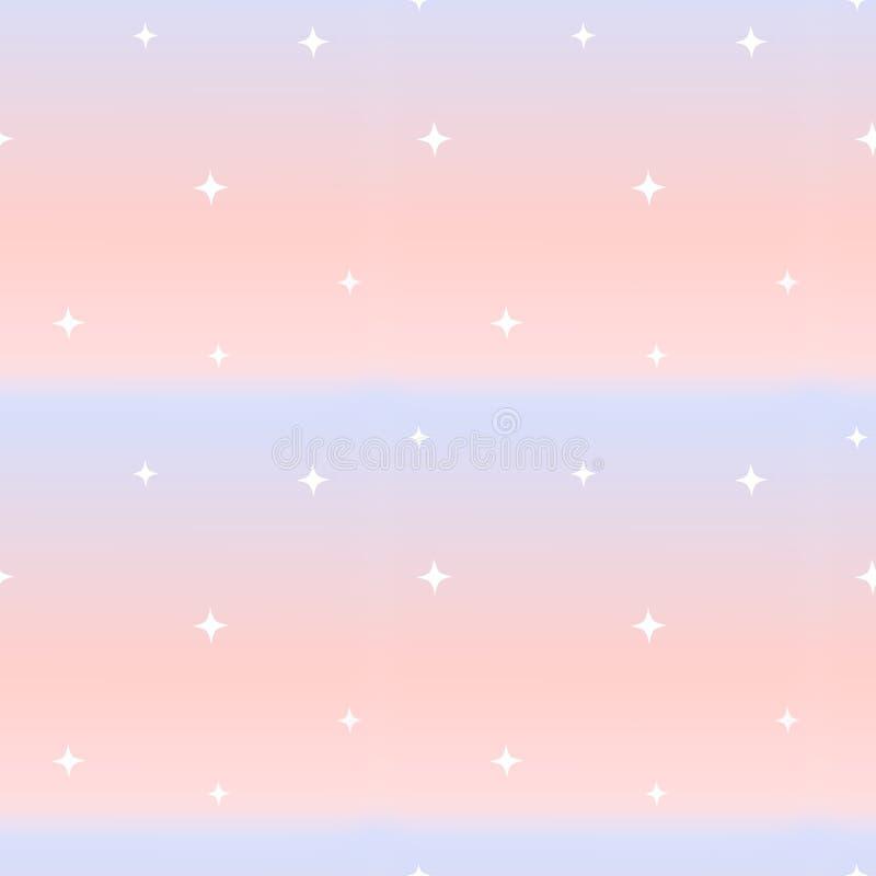 Rosa y ejemplo inconsútil azul del fondo del modelo con pocas estrellas blancas ilustración del vector