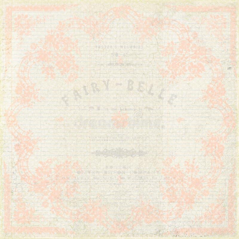 Rosa y fondo elegante lamentable beige del doiley ilustración del vector