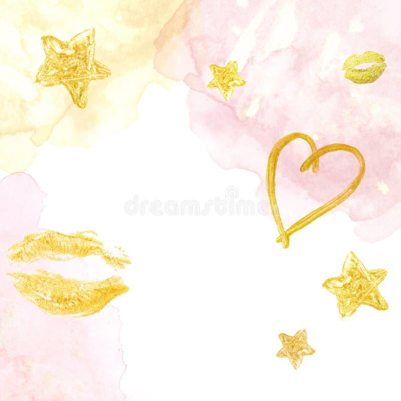 Rosa y fondo lindo del oro con textura, los lipds, el corazón y las estrellas de la acuarela en blanco Fondo festivo libre illustration
