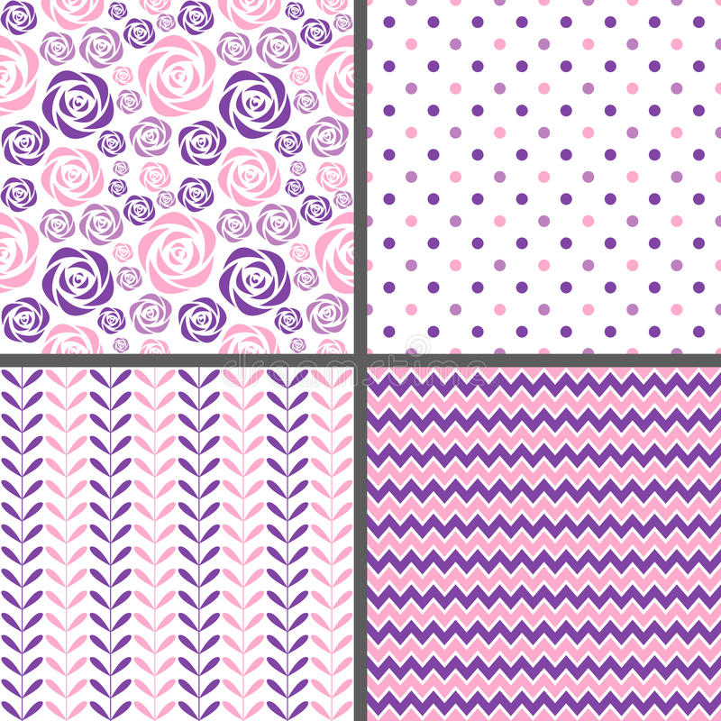 Rosa y modelos inconsútiles púrpuras stock de ilustración