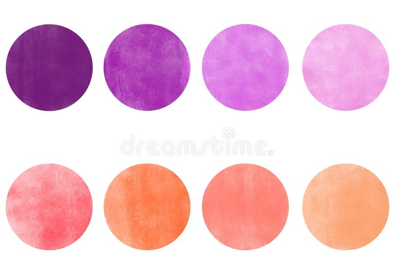 Rosa y paleta de colores púrpura de 8 sombras stock de ilustración