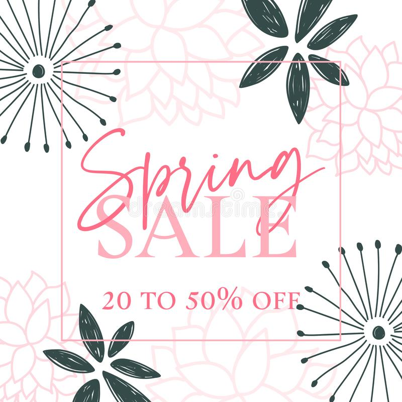 Rosa y Teal Spring Sale Graphic oscuro libre illustration
