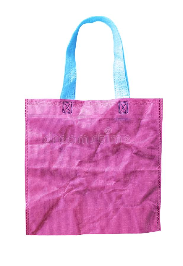 Rosa zerknittern die lokalisierte Einkaufstasche stockbilder