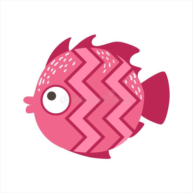 Rosa Zickzack-Muster-fantastische bunte Aquarium-Fische, tropisches Riff-Wassertier vektor abbildung