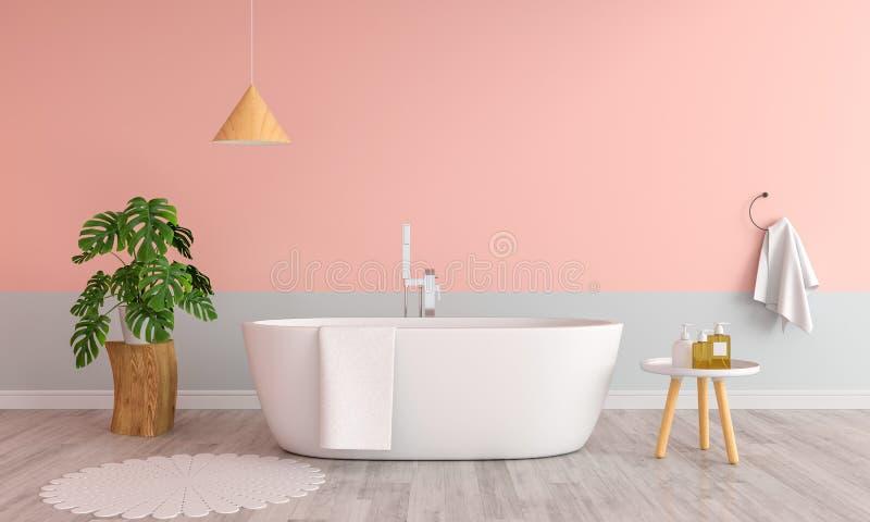 Rosabadezimmer-Innenbadewanne, Wiedergabe 3D lizenzfreie abbildung