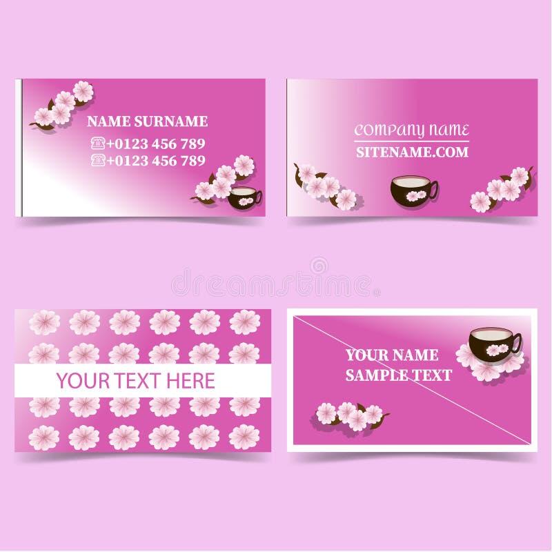 Rosado-negocio-tarjeta-plantilla-con-flor-y-Taza-Efectos de escritorio-diseño-vector-sistema stock de ilustración