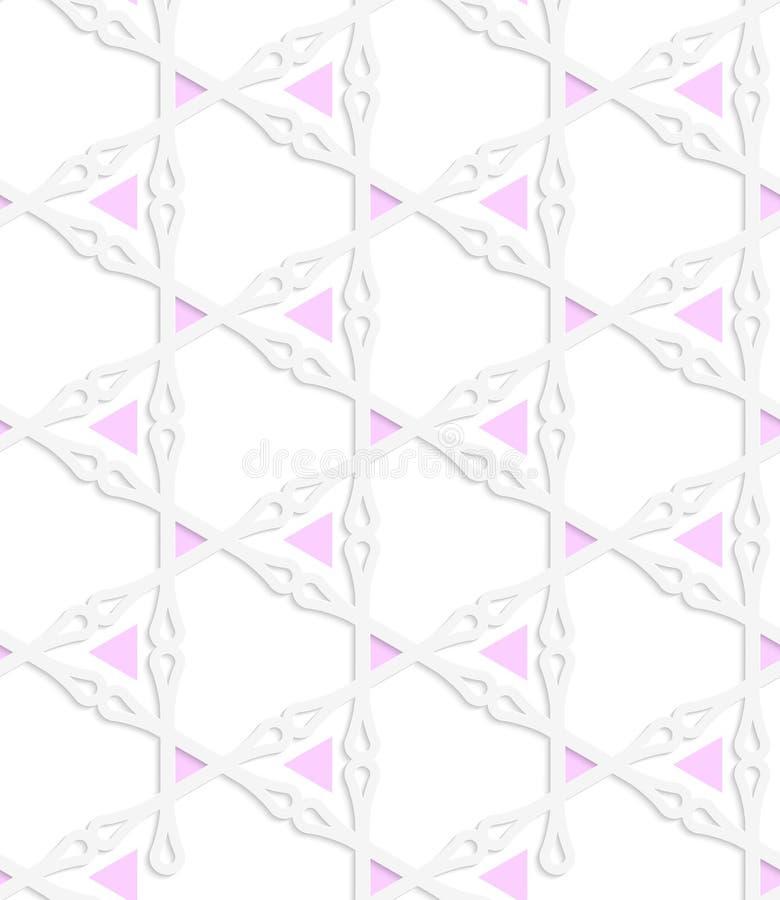 Rosadreiecke des farbigen Papiers des Weiß mit Vereinen stock abbildung