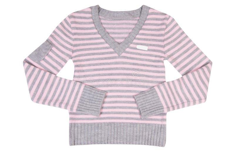 Rosafarben-graue Strickjacke auf einem Weiß. stockbild